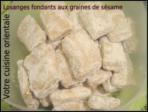 Losanges fondants aux graines de sésame